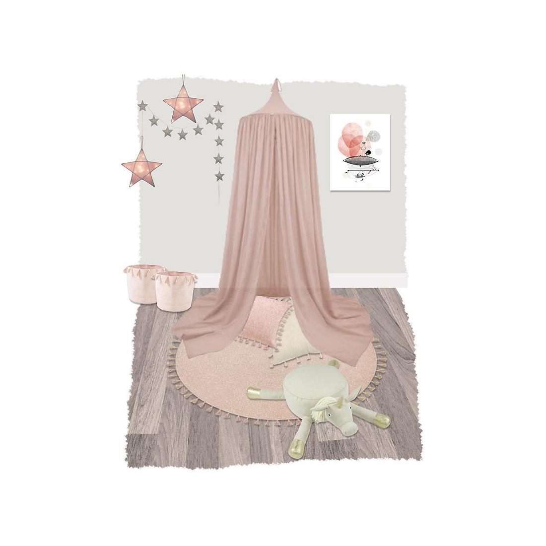 tapis enfant coton rond pompons rose helo se nattiot ma. Black Bedroom Furniture Sets. Home Design Ideas