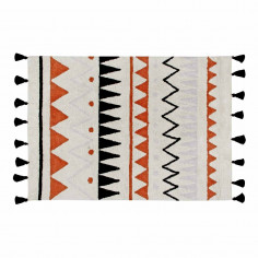 Tapis coton lavable Motifs Aztèque beige orange noir et gris Lorena Canals