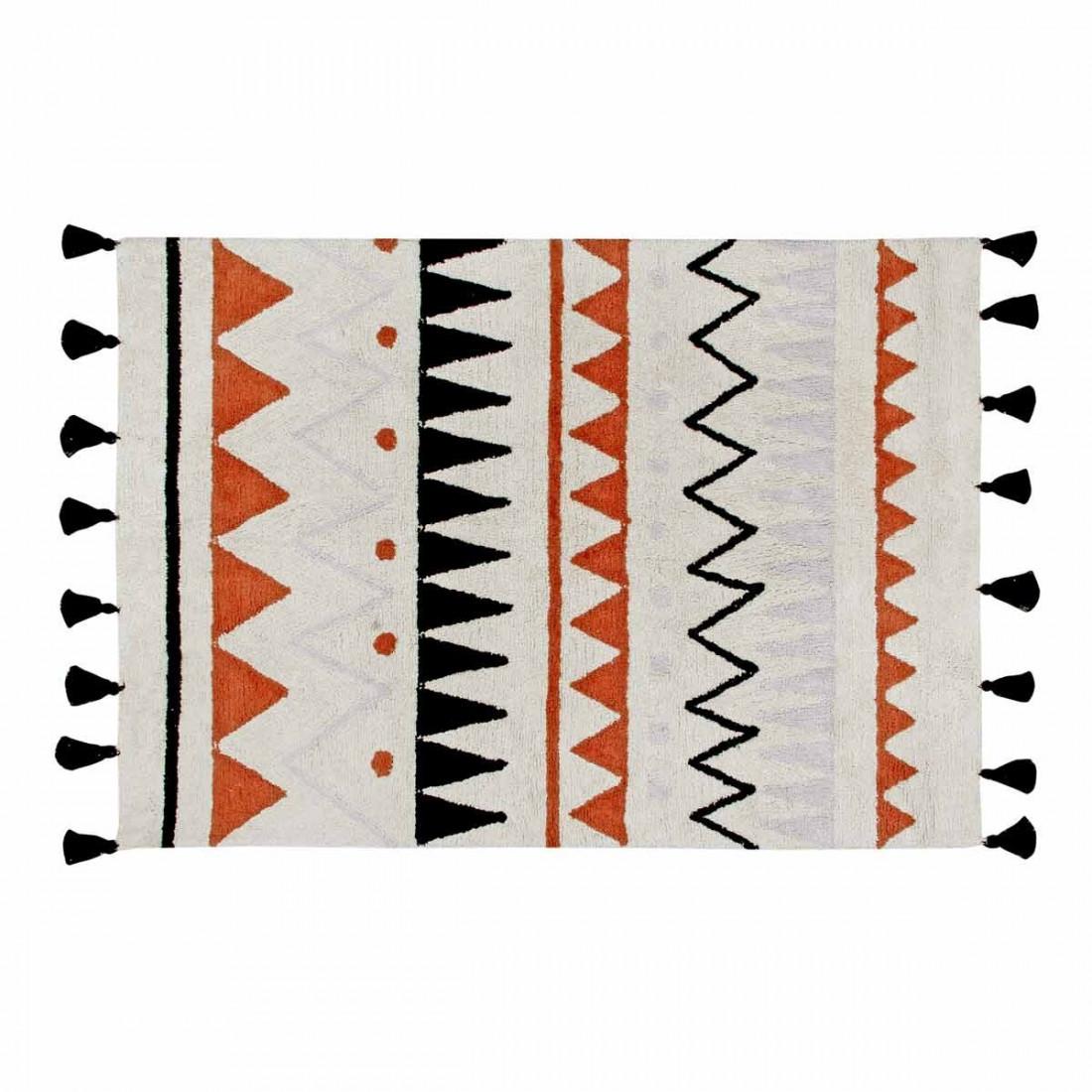tapis coton lavable motifs azt que beige orange noir et. Black Bedroom Furniture Sets. Home Design Ideas