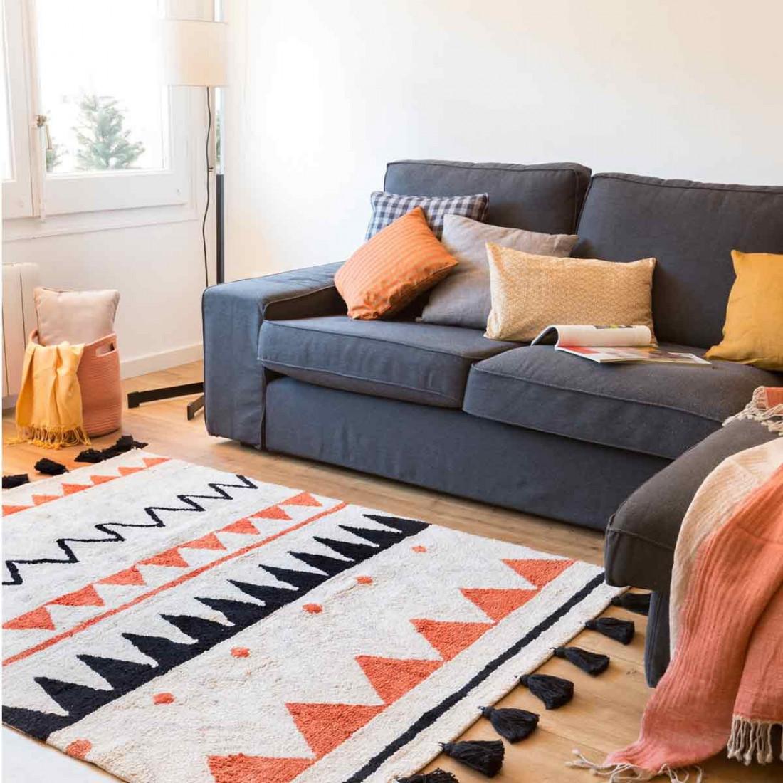 tapis coton lavable motifs azt 232 que beige orange noir et gris canals ma chambramoi