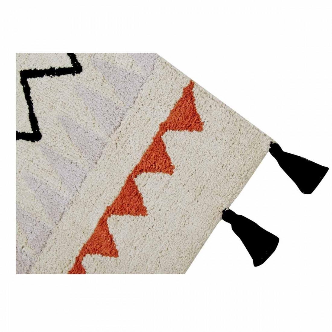 Tapis Coton Lavable Motifs Azt Que Beige Orange Noir Et
