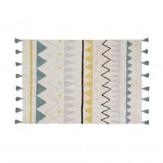 Tapis Coton lavable Motifs Aztèque bleu jaune gris noir Lorena Canals