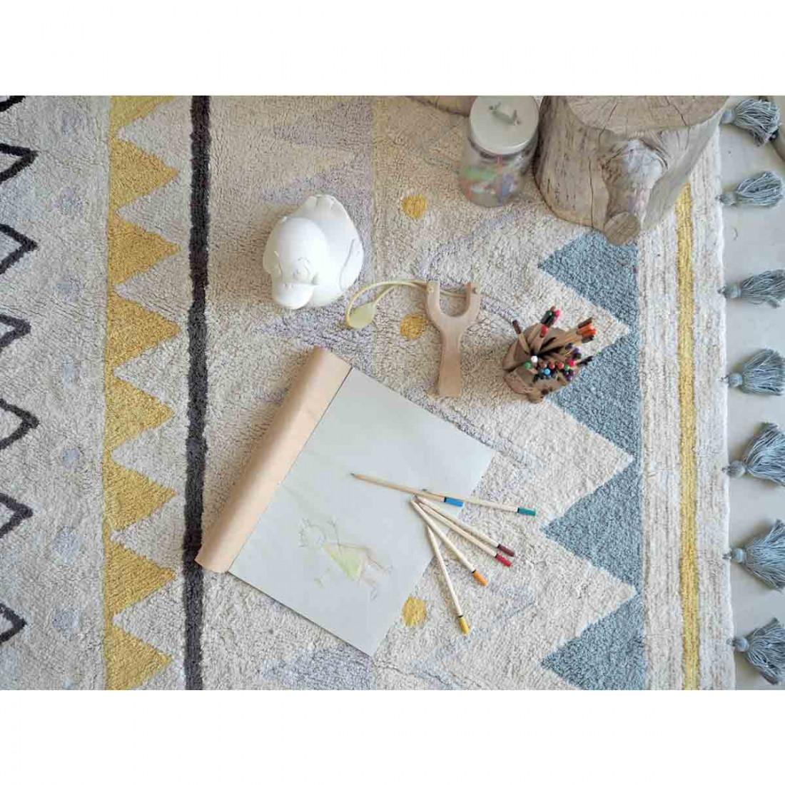 tapis coton lavable motifs azt que bleu jaune gris noir. Black Bedroom Furniture Sets. Home Design Ideas