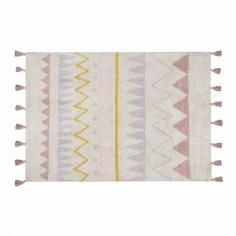 Tapis enfant coton lavable Motifs aztèque rose jaune blanc Lorena Canals