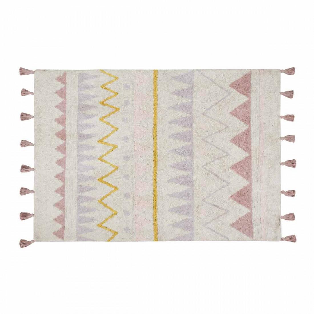 Tapis enfant coton lavable motifs azt que rose jaune blanc Petit tapis jaune