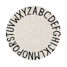 Tapis enfant coton lavable rond beige alphabet noir Lorena Canals