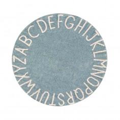 Tapis enfant coton lavable rond bleu vintage alphabet blanc Lorena Canals