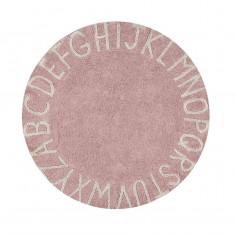 Tapis enfant coton lavable rond rose alphabet blanc Lorena Canals