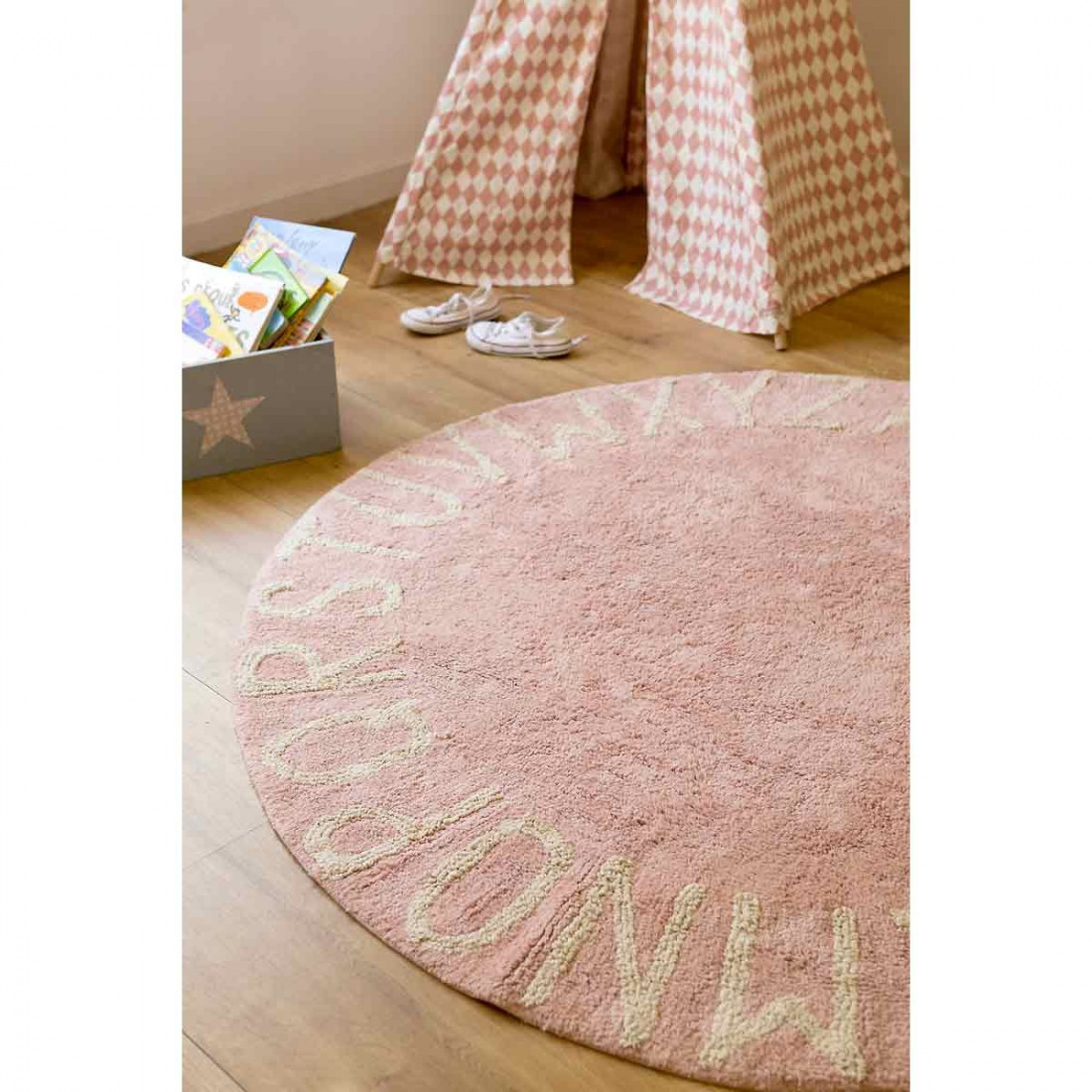 tapis enfant coton lavable rond rose alphabet blanc lorena canals ma chambramoi. Black Bedroom Furniture Sets. Home Design Ideas