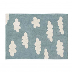 Tapis enfant coton lavable bleu vintage nuages blanc Lorena Canals