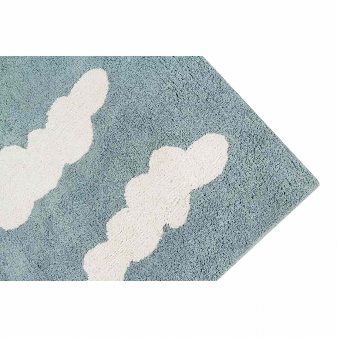 tapis enfant coton lavable bleu vintage nuages blanc. Black Bedroom Furniture Sets. Home Design Ideas