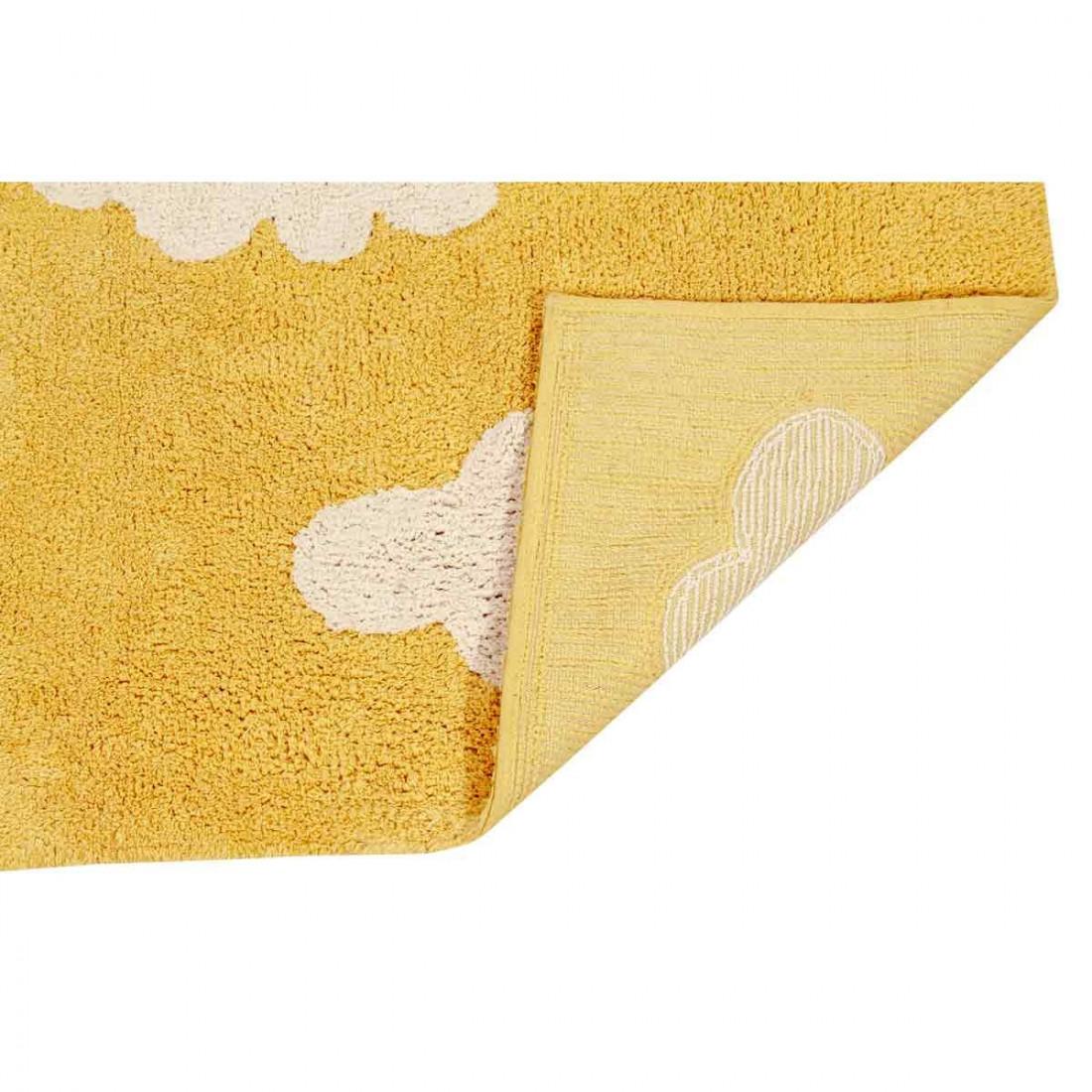 best tapis enfant coton lavable jaune moutarde nuages. Black Bedroom Furniture Sets. Home Design Ideas