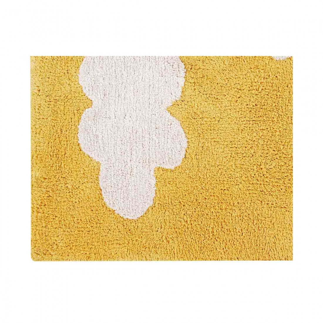tapis enfant coton lavable jaune moutarde nuages blanc lorena canals ma chambramoi. Black Bedroom Furniture Sets. Home Design Ideas