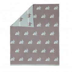 Couverture enfant plaid 80x100cm coton Lapin