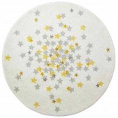 Tapis enfant rond acrylique blanc étoiles jaune grise diamètre 120cm