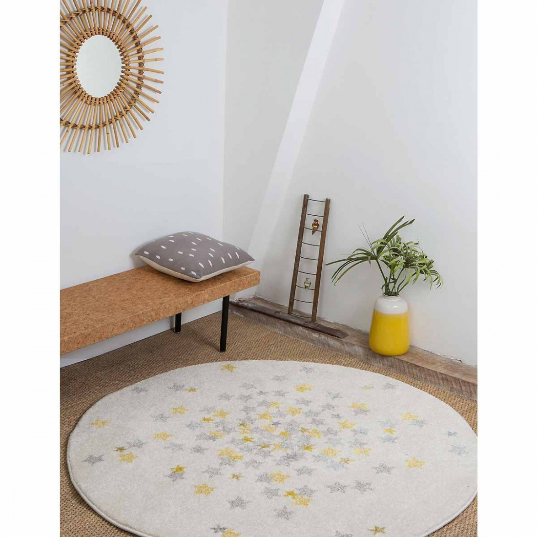 tapis enfant rond blanc etoiles jaune grise 120 cm ma chambramoi. Black Bedroom Furniture Sets. Home Design Ideas