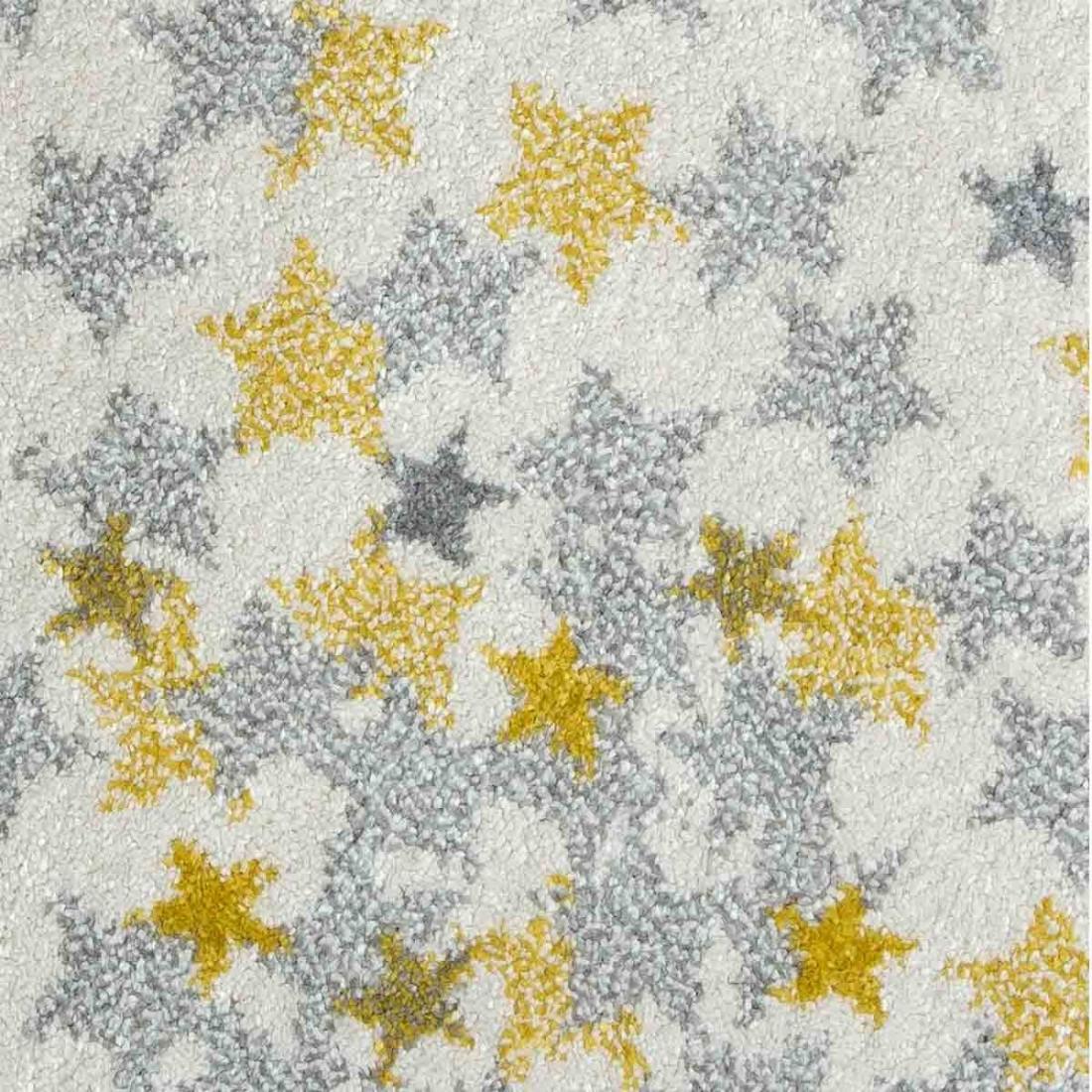 tapis enfant rond blanc etoiles jaune grise 120 cm ma. Black Bedroom Furniture Sets. Home Design Ideas