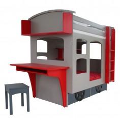 Lit superposé cabane enfant Wagon bleu