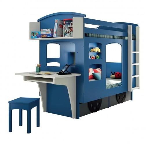 Lit superposé cabane enfant Wagon bleu et greige - Ma Chambramoi