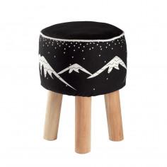 Tabouret enfant coton bois Montagnes noir blanc Aspen Nattiot