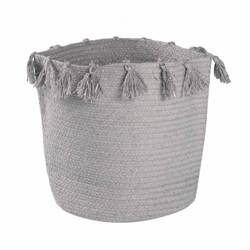 Rangement jouets panier Tressé main gris argenté Joséphine Nattiot