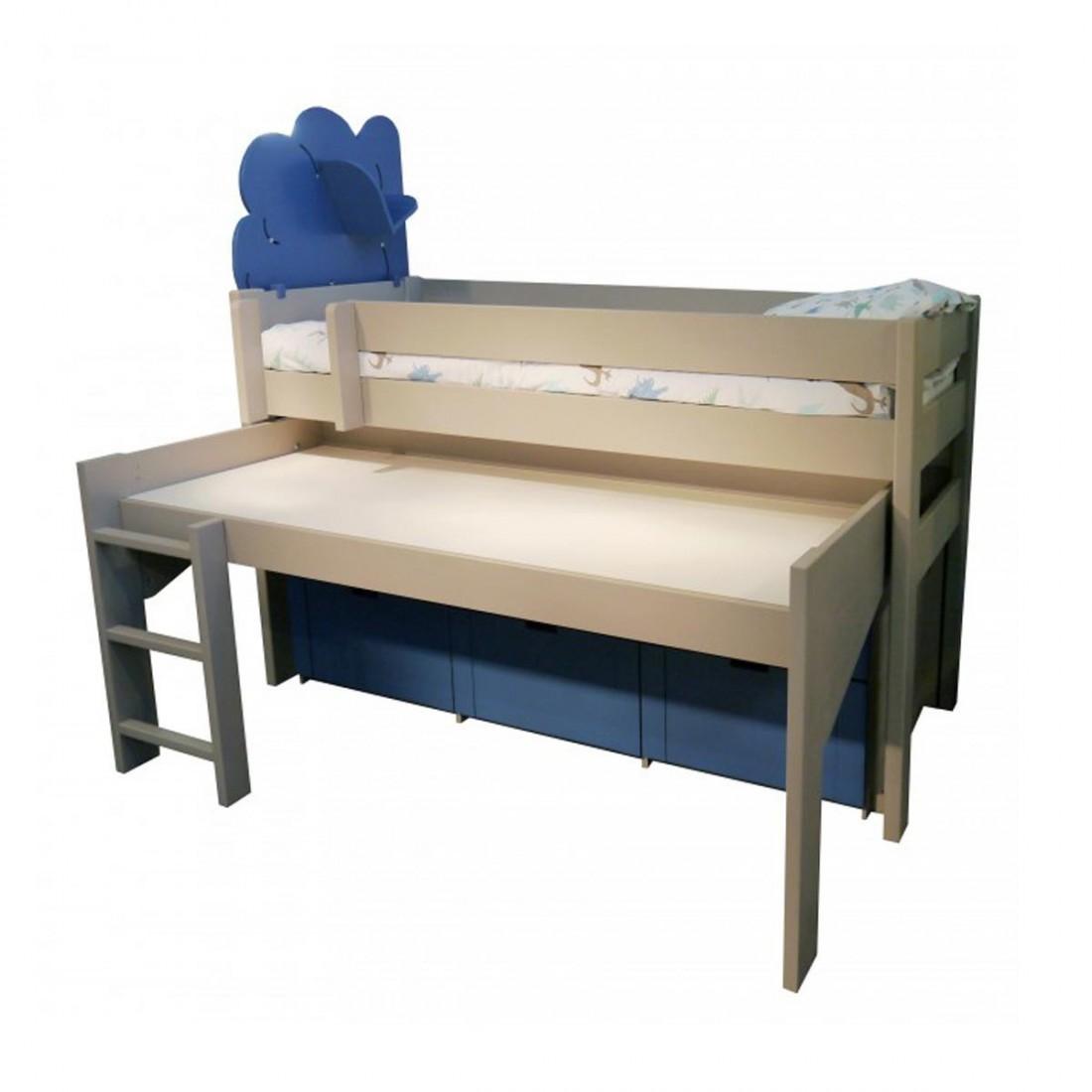 lit compact sur lev et bureau roulant dominique ma chambramoi. Black Bedroom Furniture Sets. Home Design Ideas