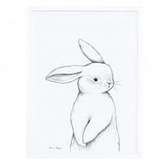 Tableau enfant Affiche encadrée Portrait Lapin blanc Lilipinso