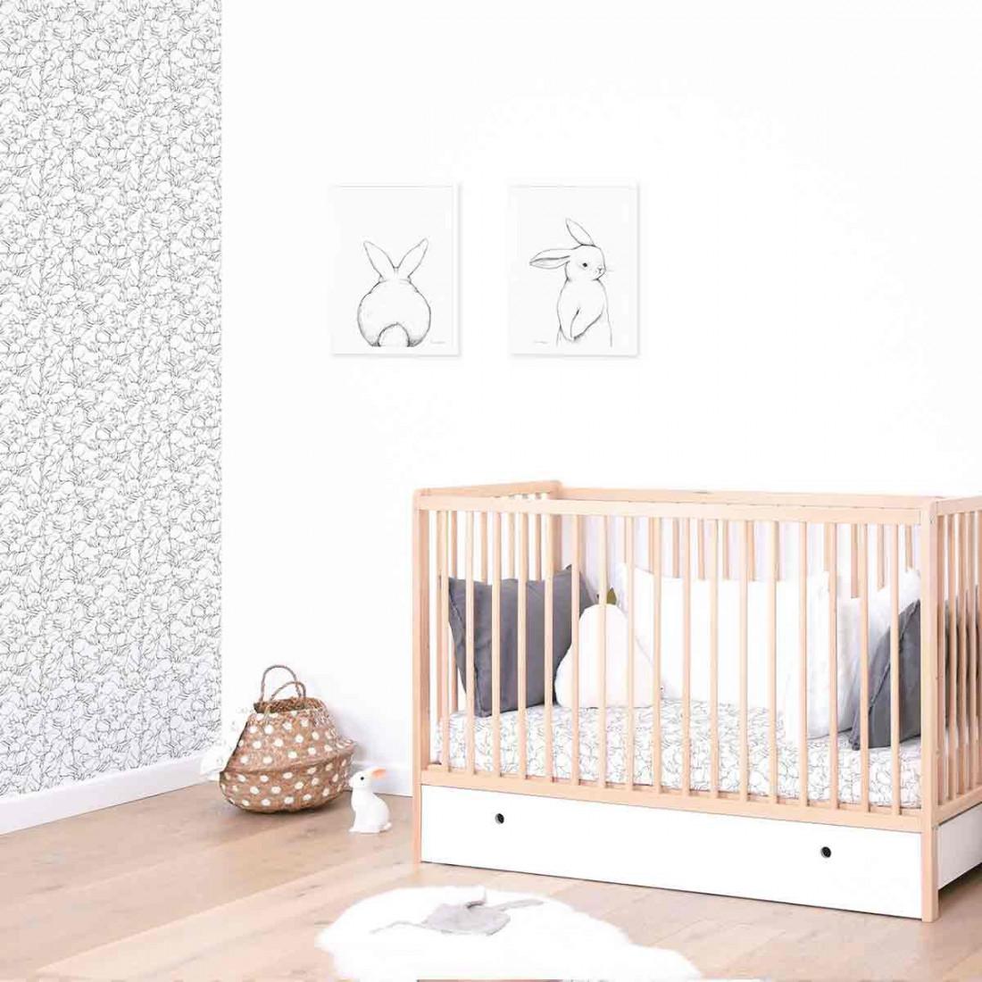 tableau enfant affiche encadr e portrait lapin blanc. Black Bedroom Furniture Sets. Home Design Ideas