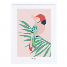 Tableau enfant Affiche encadrée Perroquet rose Lilipinso