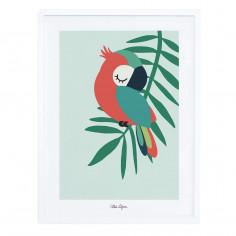 Tableau enfant Affiche encadrée Perroquet vert Lilipinso
