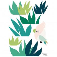 Sticker enfant Oiseau et herbes Lilipinso