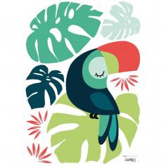 Sticker enfant Toucan et feuilles Lilipinso