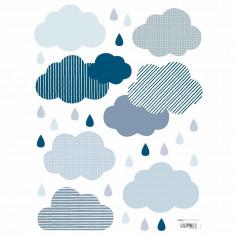 Stickers enfant Petits nuages et pluie bleu Lilipinso