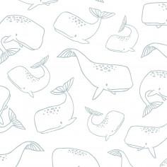 Papier peint chambre enfant Baleines Lilipinso