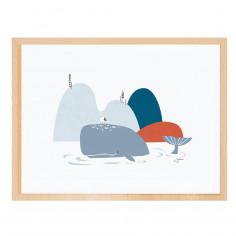 Tableau enfant Affiche encadrée Baleines Lilipinso