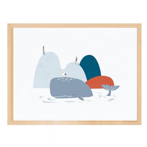 Tableau enfant Affiche encadrée Baleines Lilipinso - Ma Chambramoi