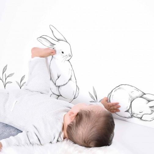 Stickers chambre bébé/enfant Trois lapins blanc Lilipinso