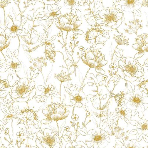 Papier peint enfant Fleurs or Lilipinso