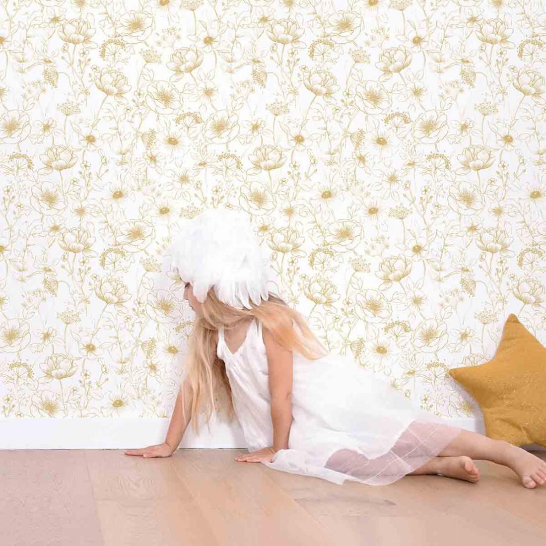 Papier peint enfant fleurs or lilipinso ma chambramoi - Papier peint pour chambre enfant ...