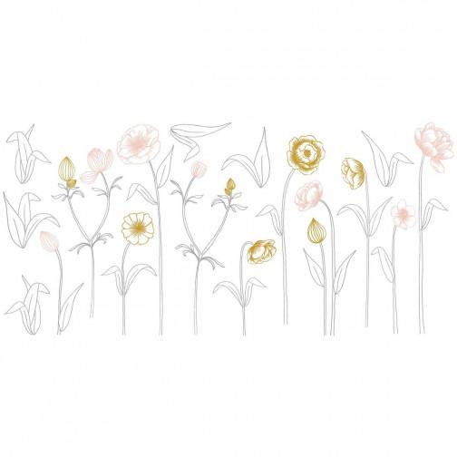 Sticker enfant XL Fleurs sur tiges rose et or Lilipinso