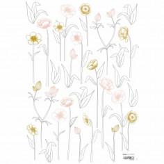 Sticker enfant Fleurs sur tiges rose or Lilipinso