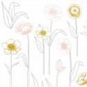 Sticker chambre enfant Fleurs sur tiges rose or Lilipinso