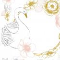 Sticker enfant Cygne et fleurs rose or Lilipinso