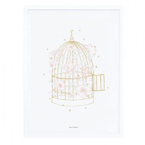 Tableau pour enfant affiche encadrée Cage à oiseaux fleurie Lilipinso