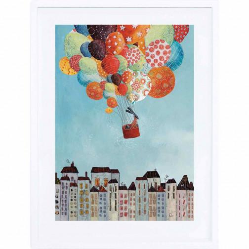 Tableau enfant Affiche encadrée Voyage en ballons Lilipinso