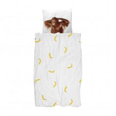 Housse de couette enfant Effet trompe oeil Singe et banane Snurk