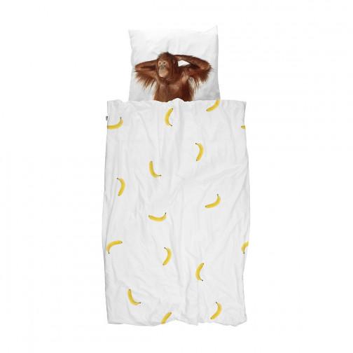 Housse de couette enfant singe et banane snurk ma chambramoi - Couette enfant a fermeture ...