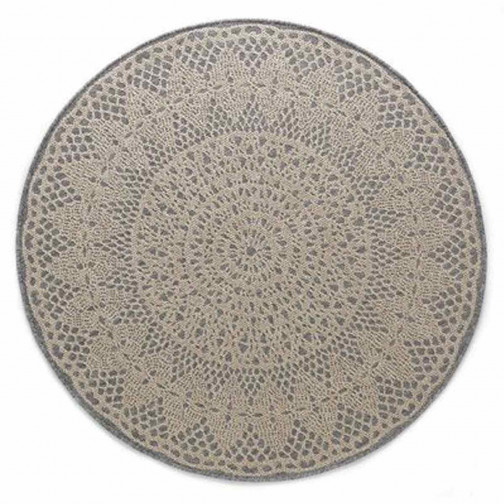 tapis enfant crochet round gris art for kids ma chambramoi. Black Bedroom Furniture Sets. Home Design Ideas