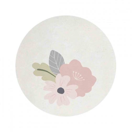 Tapis enfant coton rond Fleurs Lilipinso