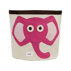 Sac à jouets coton 3 Sprouts Eléphant rose